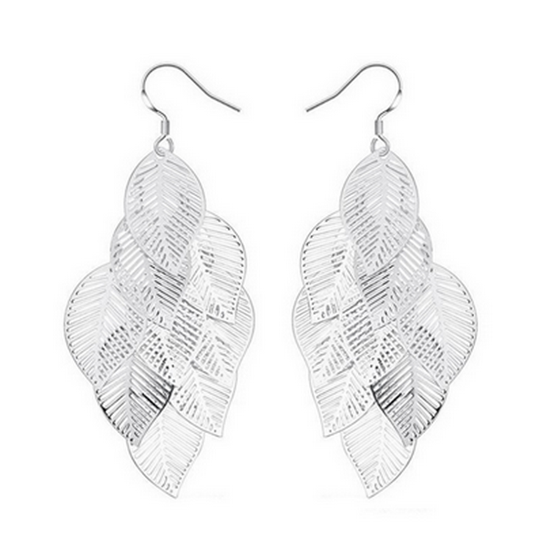 Alloy Silver and Gold Leaf Earrings-Rama Deals