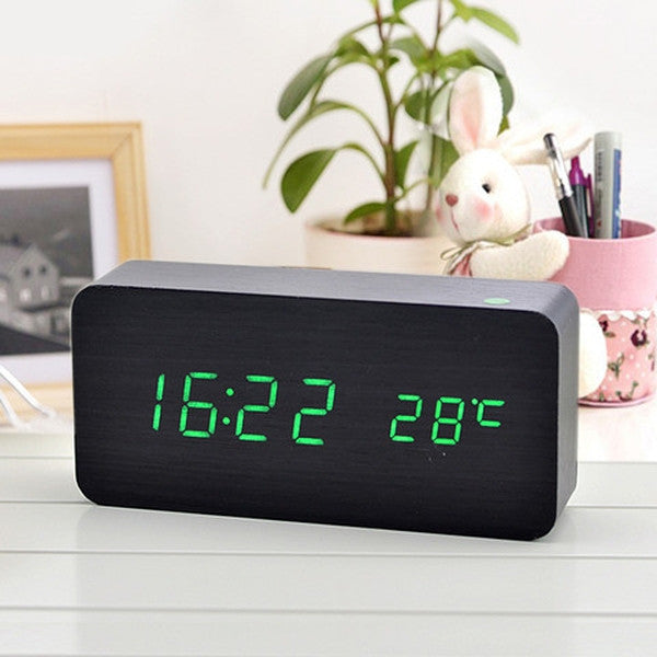 Clearance Temperature Sounds Control LED Clock-Rama Deals