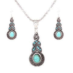 Tibetan Silver Crystal Chain Pendant Necklace Earrings Set - Rama Deals - 1