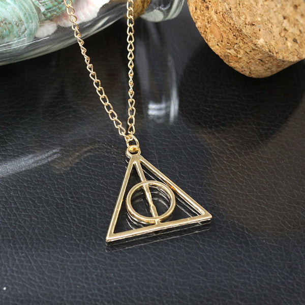 Harry Potter Deathly Hallows Triangle Metal Pendant Necklace-Rama Deals