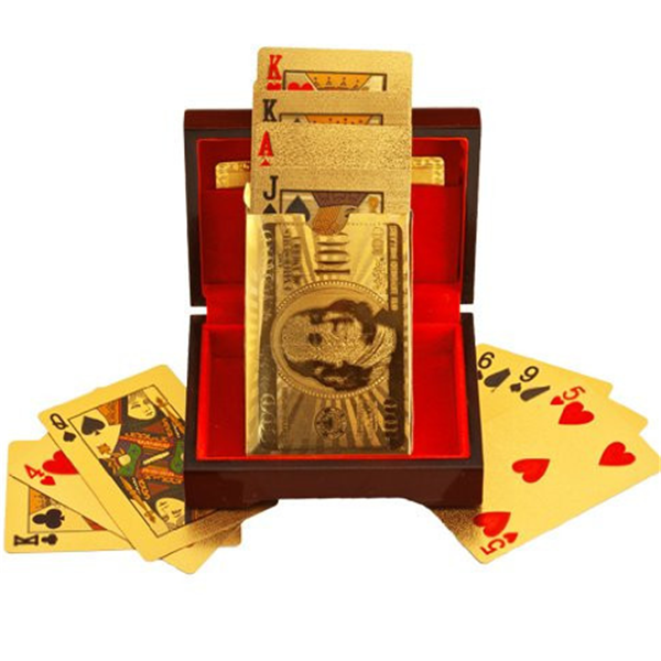 24K Gold-Plated Playing Cards with Case-Rama Deals