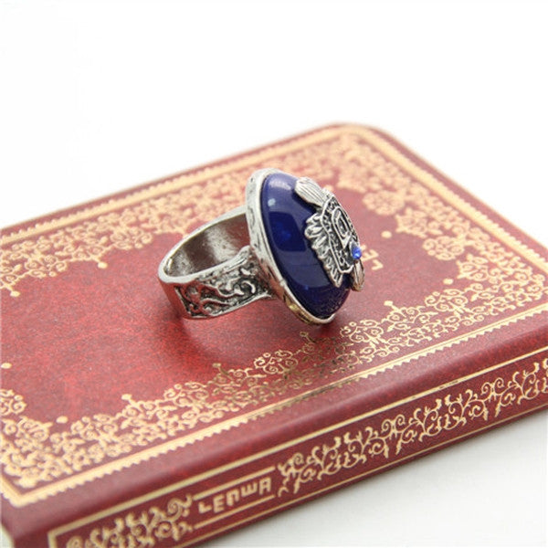 Vintage Silver Color Bluestone Rings-Rama Deals