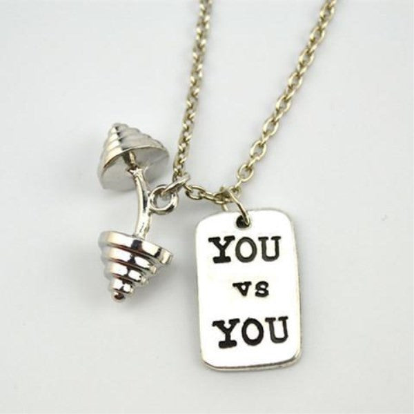 You vs You Triangle Dumbbell Necklace-Rama Deals