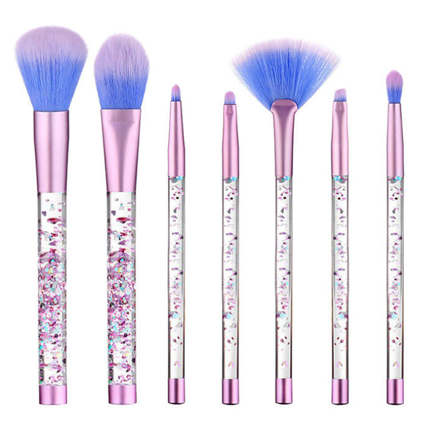 7 Piece Quicksand Crystal Makeup Brushes-Rama Deals
