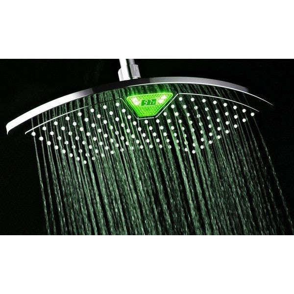 Clearance 12 Fan Rainfall Showerhead with Color-Changing LED/LCD Temperature Display-Rama Deals