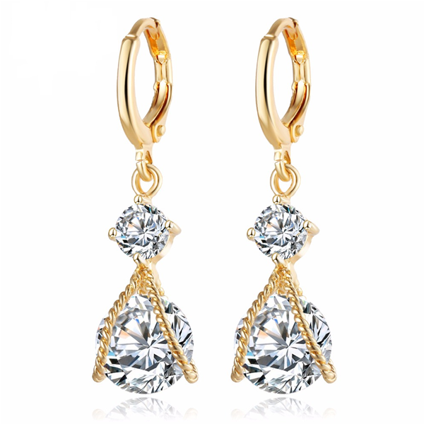 Clearance Vintage Gold Crystal Water Drop Earrings-Rama Deals