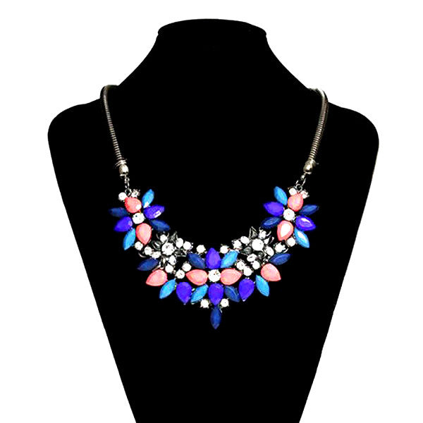 Fabric Acrylic Resin Flower Necklace-Rama Deals