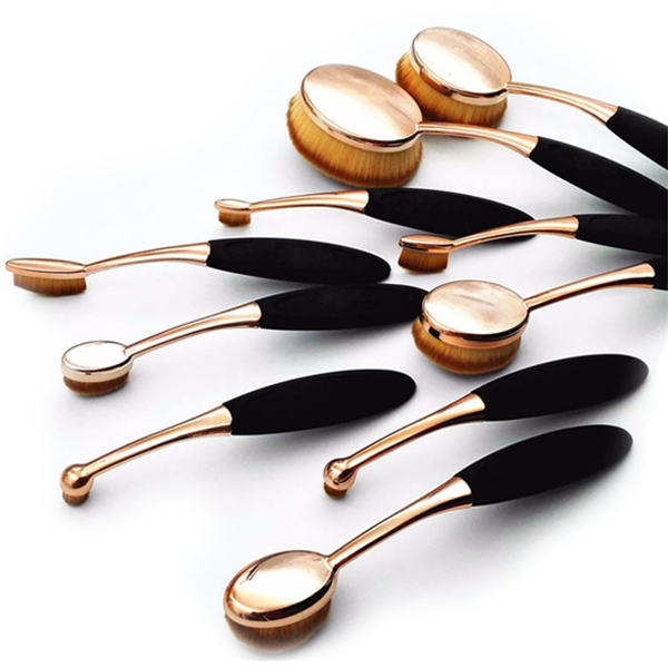 10 Piece Black and Gold Oval Brush Set-Rama Deals