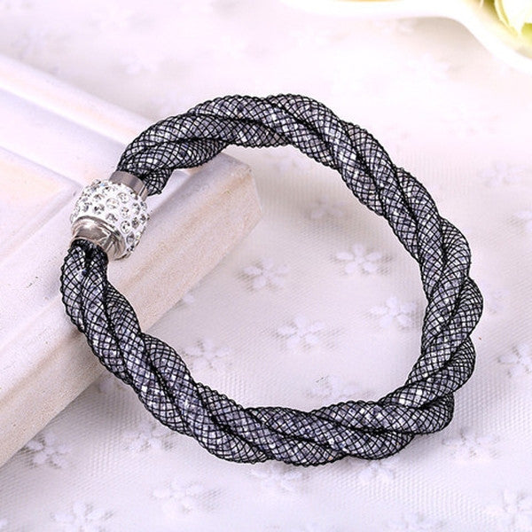 Clearance Mesh Double Stardust Bracelets With Crystal stones Filled Magnetic Clasp-Rama Deals
