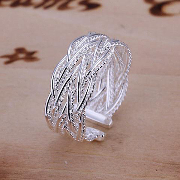 Fashion Small Net Weaving Sterling Silver Ring-Rama Deals