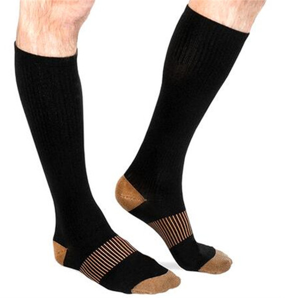 Unisex Long Copper-Infused Pain Relief Compression Socks-Rama Deals