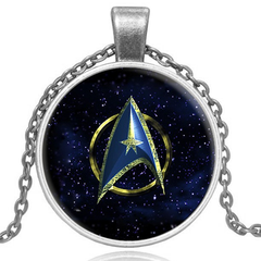 Star Trek Glass Pendant Necklace- Gold and Silver - Rama Deals - 1