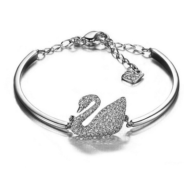 Clearance Sterling Silver Swan Bangle-Rama Deals