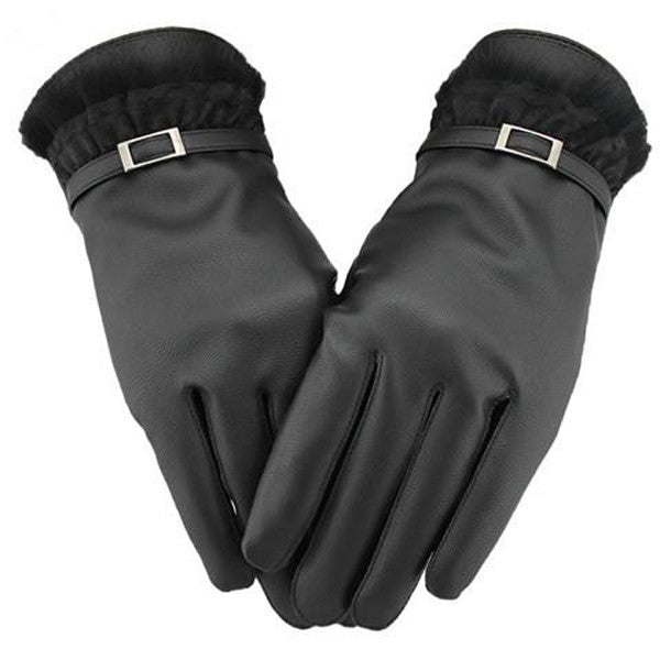 Touch Screen Women Leather Warm Winter Gloves-Rama Deals