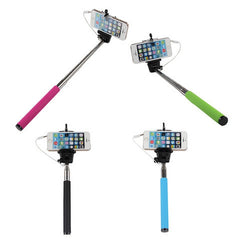 Wired Selfie Sticks Built-in Shutter Extendable +Mount Holder Photo - Rama Deals - 1