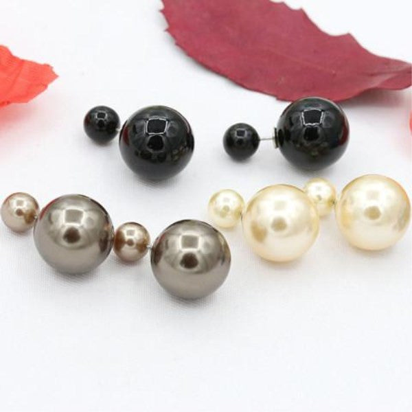 Double Side Pearl Stud Earrings - Assorted Colors-Rama Deals