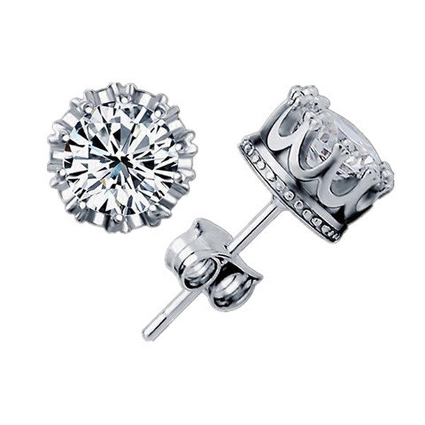 Clearance Sterling Sliver 8MM 2 Carat Cubic Zirconia Stud Earrings-Rama Deals
