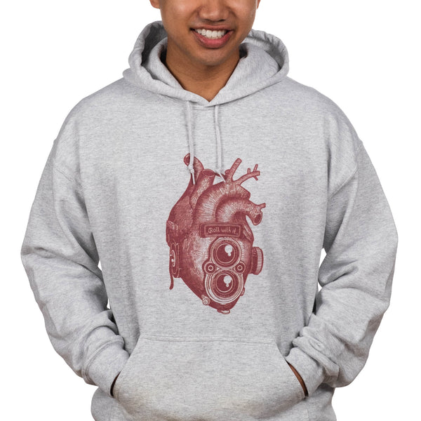 Roll With It Rolleiflex Heart Hoodie from ShootFilmCo