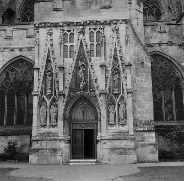Black and white photograph of Exeter Cathedral by film photographer Hannah O'Brien