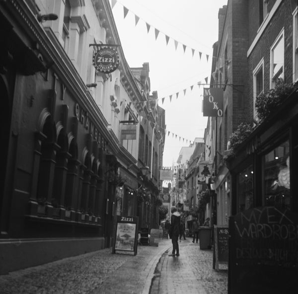 Black and white photograph of Gandy Street by film photographer Hannah O'Brien