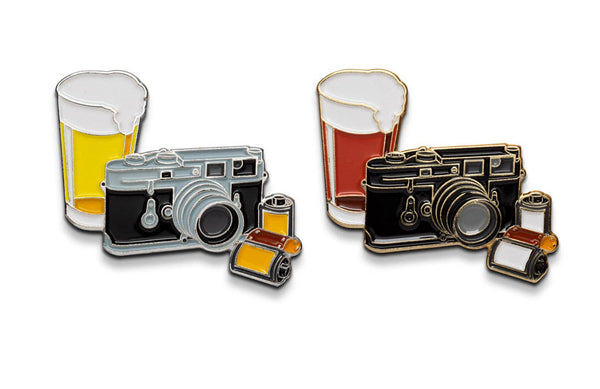 Beers and Cameras Lapel Pin by ShootFilmCo