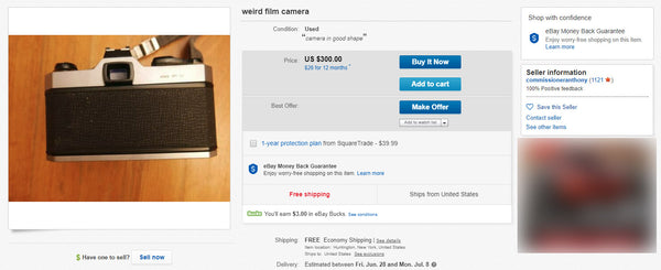 weird film camera on ebay by shootfilmcfo