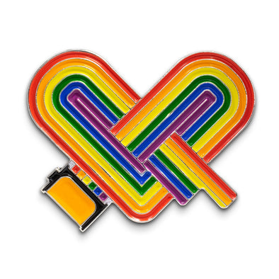 Rainbow Heart Enamel Lapel Pin - Benefiting LGBTQ Youth - Shoot Film Co.