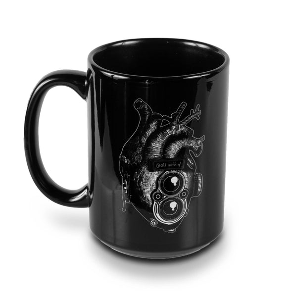 Roll With It TLR Heart 15oz Black Mug - Shoot Film Co.