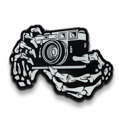 35mm Rangefinder Film Camera Skeleton Hands Glow in the Dark Lapel Pin - Shoot Film Co.