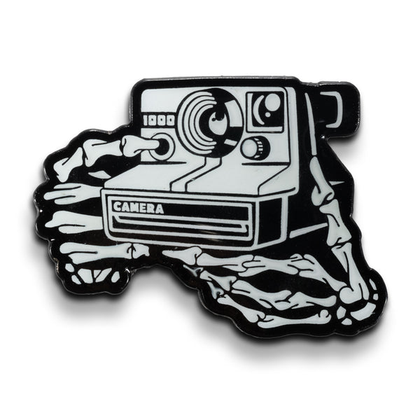 Instant Film Camera Skeleton Hands Glow in the Dark Lapel Pin - Shoot Film Co.