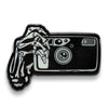 35mm Point and Shoot Film Camera Skeleton Hands Glow in the Dark Lapel Pin - Shoot Film Co.