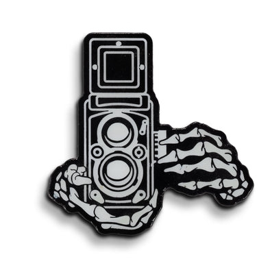 Skeleton Hands TLR Glow in the Dark Enamel Lapel Pin - Shoot Film Co.