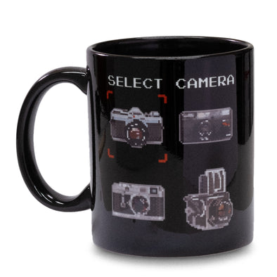 8-Bit Camera / Film 11 Oz. Black Ceramic Mug - Shoot Film Co.