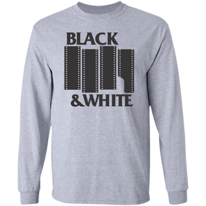 Black and White Black Flag Tribute Long Sleeve Cotton T-Shirt - Shoot Film Co.