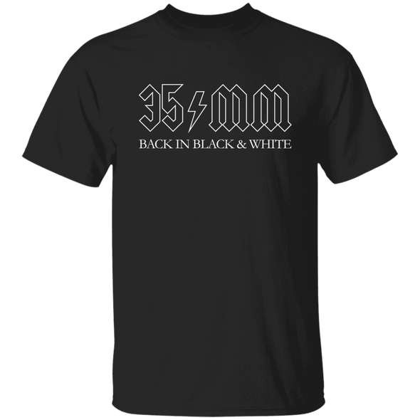 35mm Black in Black & White ACDC Style T-Shirt - Shoot Film Co.