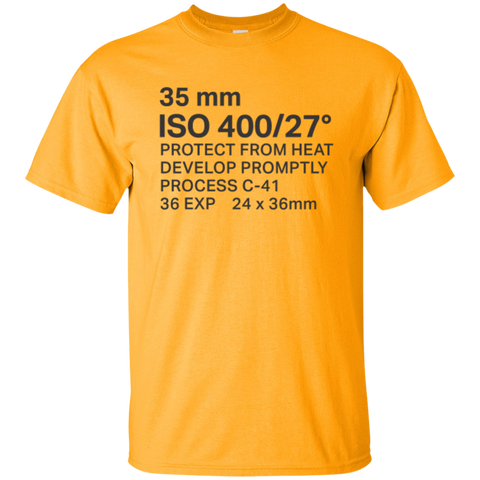 Yellow / gold t-shirt with black text