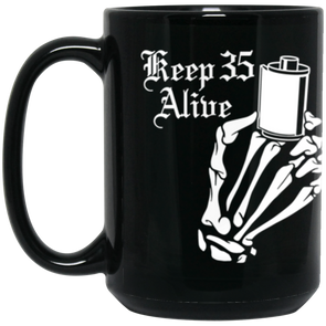 Keep 35 Alive - Skeleton Hands 35mm Film Roll 15oz Black Mug - Shoot Film Co.