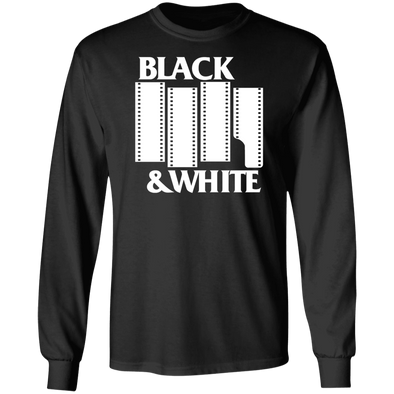 Black & White Black Flag Tribute Long Sleeve Cotton T-Shirt - Shoot Film Co.