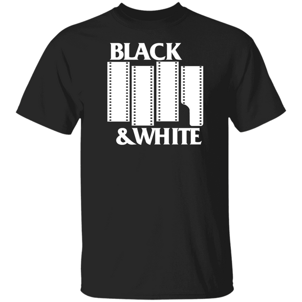 Black & White Flag DARK Short Sleeve Cotton T-Shirt - Shoot Film Co.
