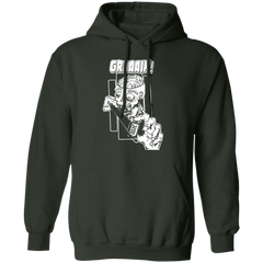 Zombie Wants Grain Front Print Pullover Hooded Sweatshirt