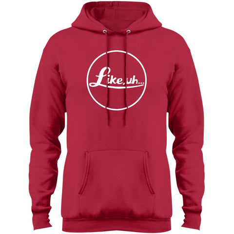 Red fleece hooded sweatshirt with a logo similar to Leica