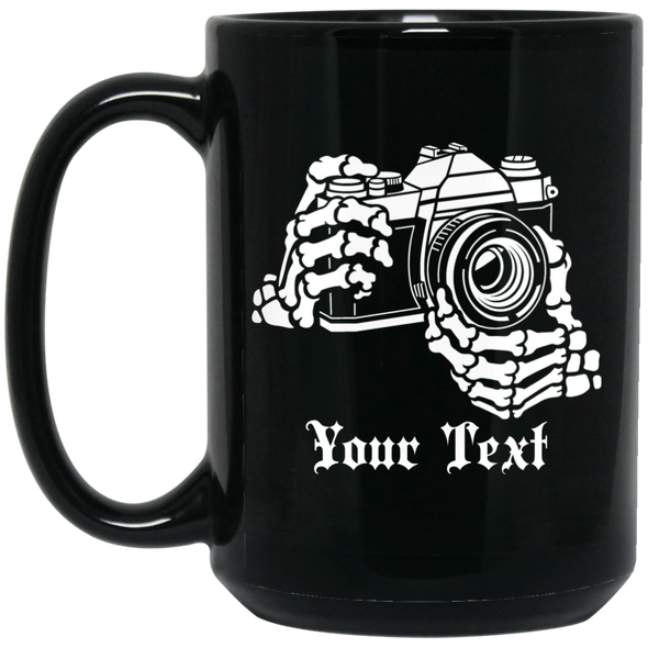 Personalized Skeleton Hands 35mm Film Camera 15oz Black Mug - Shoot Film Co.