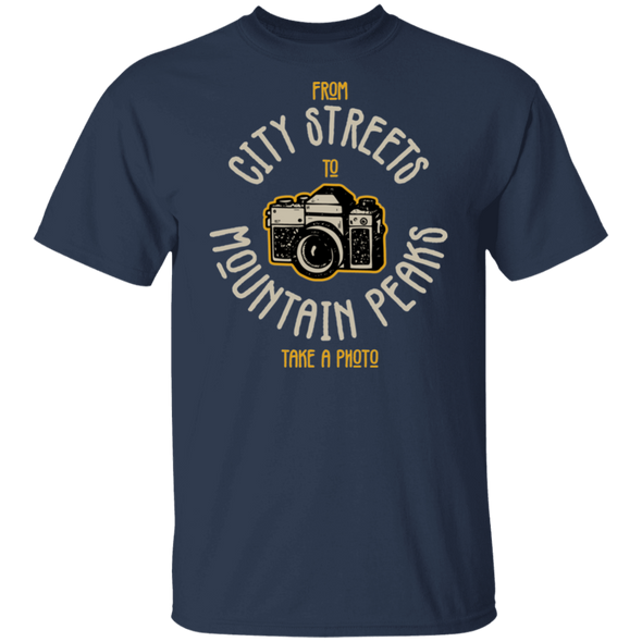 City Streets Mountain Peaks 35mm Film Camera SLR Short Sleeve T-Shirt - Shoot Film Co.