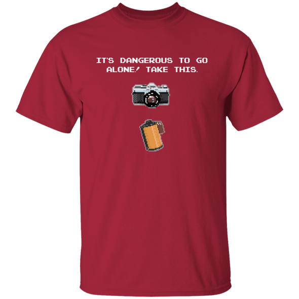 It's Dangerous To Go Alone 35mm Film SLR Camera Shirt - Shoot Film Co.