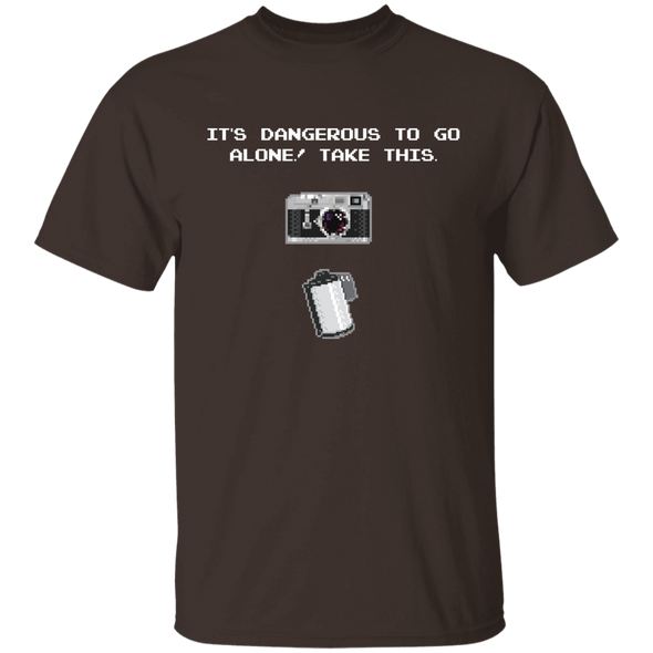 It's Dangerous To Go Alone 35mm Film Rangefinder Camera Shirt - Shoot Film Co.