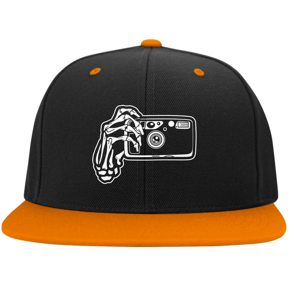 Skeleton Hands Point & Shoot Camera Flat Bill High-Profile Snapback Hat - Shoot Film Co.