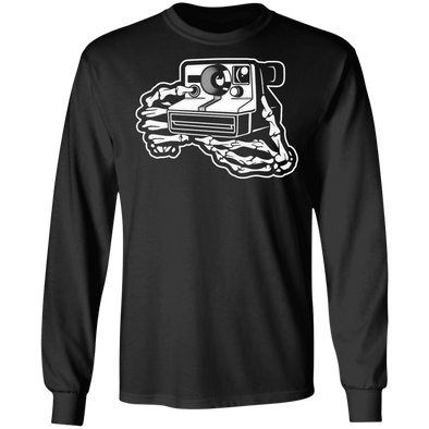 Skeleton Hands Instant Film Camera Long Sleeve Cotton T-Shirt - Shoot Film Co.