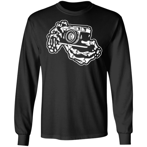 Skeleton Hands Rangefinder 35mm Film Camera Long Sleeve Cotton T-Shirt - Shoot Film Co.