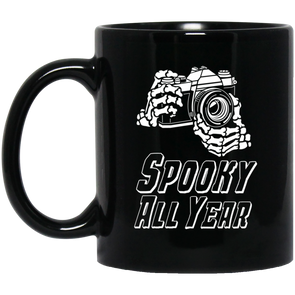 Spooky All Year 35mm Film SLR Black Ceramic Mug - Shoot Film Co.