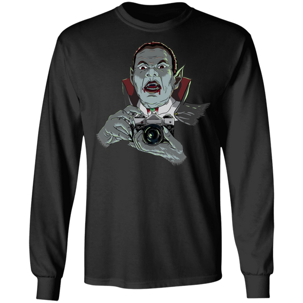 Vampire with SLR 35mm Film Camera Long Sleeve T-Shirt - Shoot Film Co.